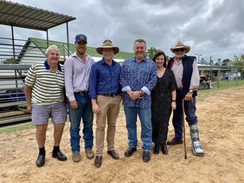 Celebrating a successful show over the weekend and a funding win, Uralla District Show Society Vice President Carl McMillan, left, President Wes Styles, Northern Tablelands MP Adam Marshall, Uralla Shire Mayor Mick Pearce, Secretary Sue Barnden and Vice President Bill Upjohn.